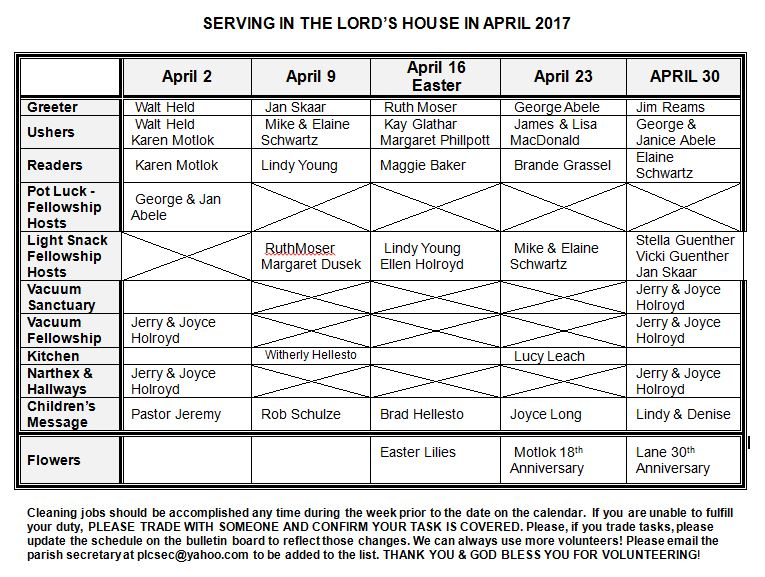 2017 April Serving Roster - Peace Lutheran Church